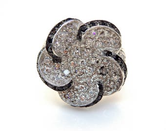 Sterling Silver Black and White Cubic Zirconia Flower Ring