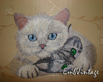MACHINE EMBROIDERY Desigm - Lovely cats - Instant Download