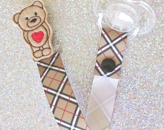 Heart Teddy Bear Pacifier Clip Paci Soother Mam Nook Binky Dummy Holder trendy new baby shower gift argyle plaid boy girl LOOP OR SNAP