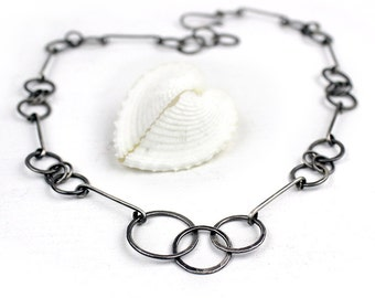 Handmade Silver Geometric Links Necklace, Forged Chain Necklace, Adjustable, Choice of Finish