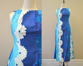 1960s Lauhala Hawaiian Turquoise Daisy Hostess Dress