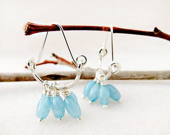 Aquamarine Earrings, Hoop Earrings, Crescent, Blue, Silver, Hand Forged, Gemstones, March Birthstone, Handmade, Gift for Her, Gift for Woman