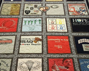 Custom Tshirt quilt. T-shirt quilt made out of 9-49 tees. Memory tee shirt quilt. T shirt quilt. Deposit only!!