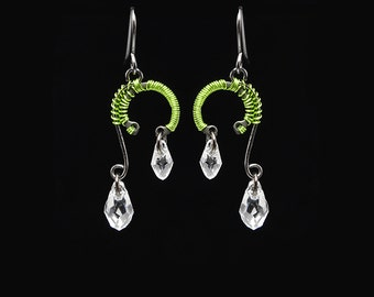 Clear Swarovski Crystal Earrings with Peridot Wire Wrapping, Industrial Earrings, Wire Wrapped Jewelry, Bridal Jewelry, Calypso II v5
