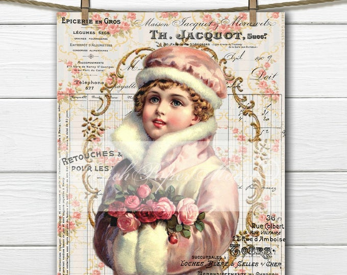 Victorian Digital Girl, Shabby Pink Girl with French Graphics, Instant Download, French Pillow Image Transfer