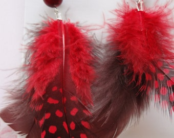Red and Brown  Feathered earrings with beaded top item 1608
