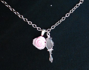 Beauty and the Beast Pink Rose and Mirror Charm Necklace