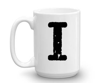 Initial Mug - Letter I - 15oz Ceramic Cup - Roommate Gift Mug - Right-Handed or Left-Handed Mug