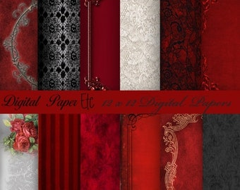 Sale Red Digital Paper: Digital Red and Black Paper, Red and Black Digital Lace, Digital Patterns, Digital Scrapbook Paper, Backgrounds  P 1