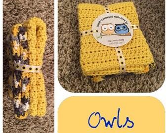 Crocheted Dishcloths-Owls