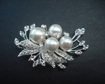 Trinity Collection, Rhinestone Brooch, Rhineflower Vintage Style Bridal Brooch, Wedding Jewelry