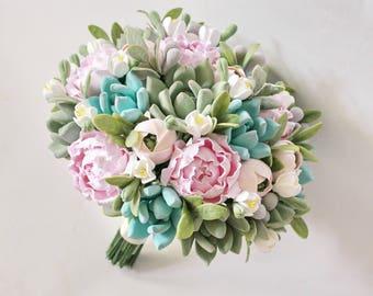 Clay wedding bouquet Alternative bridal bouquet Pink blush peony bouquet Mint Succulents bouquet Clay flowers Keepsake succulent bouquet