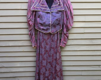 Vintage theatrical costume 1890s mutton sleeves skirt and jacket brocade