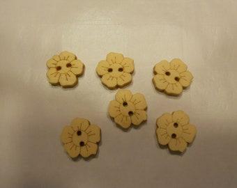 6 wood flower buttons, 15 mm (10)