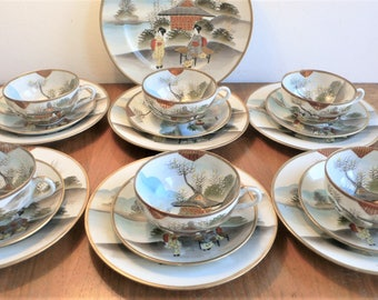 Vintage Japanese Tea Set Eggshell Gold Geisha Pagoda 19 pieces Signed cups saucers & plates
