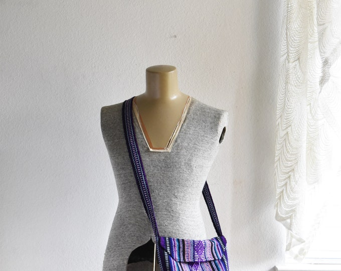 vintage purple striped shoulder hippie boho bag / boho / mexican / pinzon / across the chest