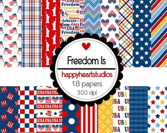 DigitalScrapbooking FreedomIs - Patriotic, 4thofJuly, Red, White, Blue