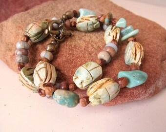 Turquoise Treasure Bracelet, One of a Kind Scarab Bracelet, Rustic Wrap Bracelet, Southwestern Bracelet