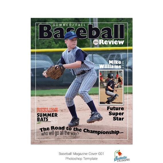 Plantilla de Photoshop de portada de la revista de béisbol