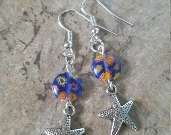 Starfish Silver Tone Drop Earrings