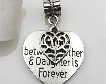 """3pcs-2 in 1-""""The love between Mother & daughter is forever"""" w/ bail -Antique silver metal Charm pendant beads"""