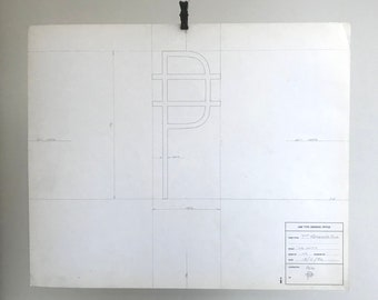 Peso symbol, 1976 original font typographic drawing. Gift for a graphic designer or typographer.