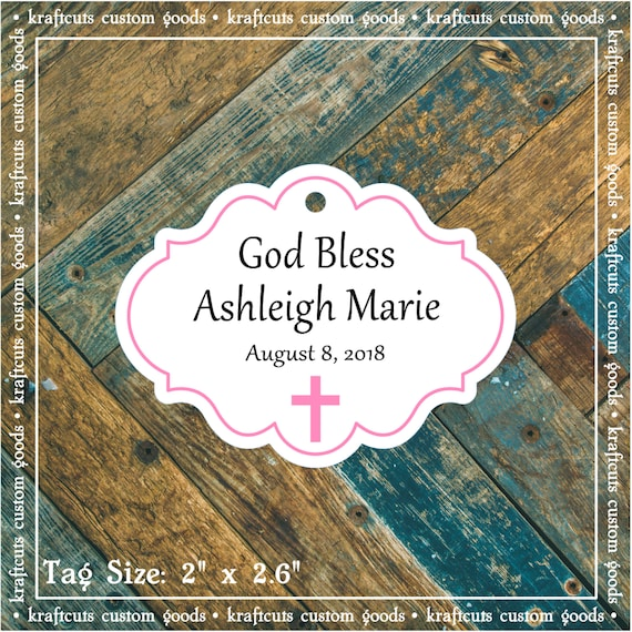 Personalized Baptism, Christening or First Communion God Bless Religious Favor Tags - Baby Girl Pink Border #781 FREE SHIPPING!