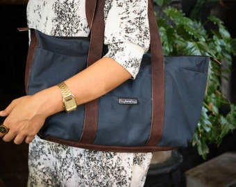 Blue canvas tote bag, laptop bag - Shay tote messenger