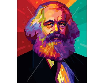 Wall ART - In Memory Of Karl Marx - fine art print personalized gift for him, pop art, canvas framed art gift idea for woman, husband gift