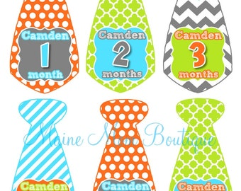 FREE GIFT, Personalized Baby Boy Monthly Stickers, Milestone Stickers Month Photo Prop Bodysuit Baby Sticker Gift Stripes Chevron Dots Tie
