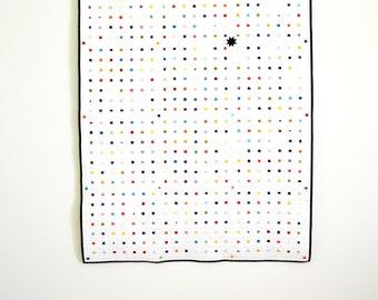 Rainbow Quilt, Modern quilt, White Quilt, Multicolored Lap Quilt, Patchwork Quilt