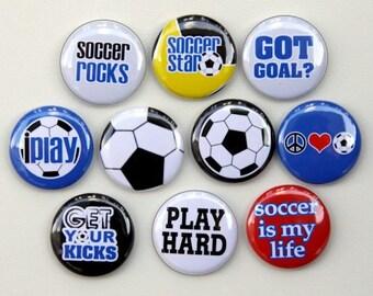 Soccer Star Set of 10 Pinback Buttons Badges 1 inch - Flatbacks or Magnets