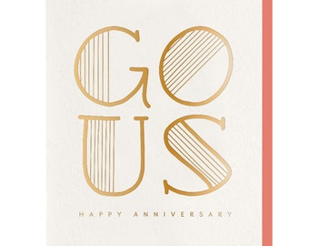 Gold Foil 'Go Us' Anniversary Card