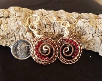 copper earrings-wire wrapped earrings-wire weave jewelry-handmade jewelry- earrings-RUBYCREATIONSHM-wire wrapped jewelry