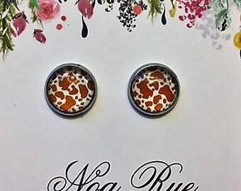 Red Cow 10mm Stud Earrings