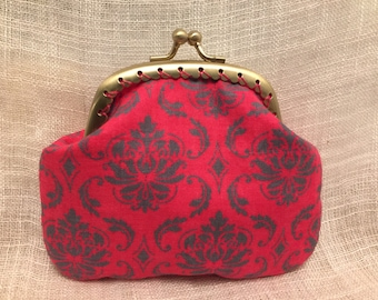 Hot Pink Damask Coin purse with kiss clasp