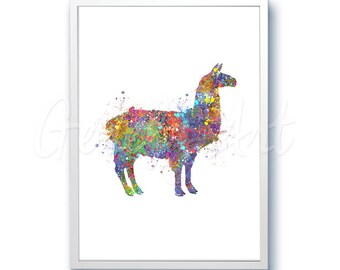 Lhama Watercolor Art Print - Alpaca Art - Home Living - Animal Painting - Wall Decor - Home Decor - House Warming Gift
