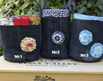 Denim storage basket, Useful gift Organizer, Fabric container, Jeans basket, Yarn basket