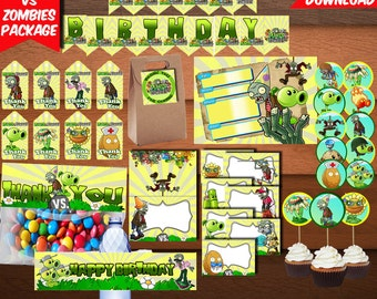Plants VS Zombies Package-Printables Zombies Package-Birthday Package-Digital Plants Package-Zombies Kit-Plants Party Decoration-DIGITAL