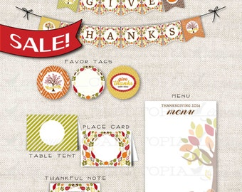 SALE! PRINTABLE THANKSGIVING Party Printable Thanksgiving Feast Fall Harvest Party Print Decoration Leaves Acorn Pumpkin Feather - 211094693