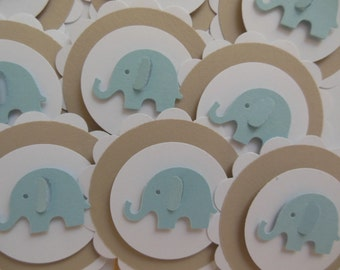 Elephant Cupcake Toppers - Blue, Light Brown and White - Boy Baby Shower Decorations - Boy Birthday Party Decorations - Set of 12