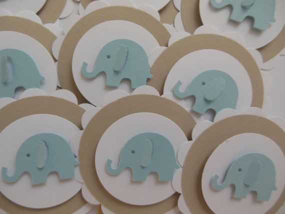 Elephant Cupcake Toppers Blue Light Brown And White Boy Baby