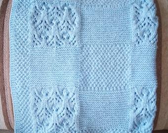 Blue Baby Blanket Crochet Baby Blanket Knitted Baby Blanket Receiving Blanket Girl Receiving Blanket Boy Hand Knit Baby Blanket Knitted Boy
