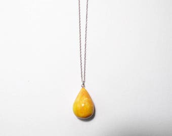 Ceramic Necklace, Mustard Yellow Statement Necklace, Chunky Necklace, Geometric Jewelry, Sterling Silver Clay Necklace, Teardrop Necklace