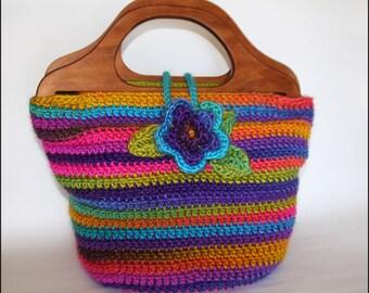Bohemian Handbag with wooden handles and flower button - CROCHET PATTERN - Plus Bonus Purse Pattern