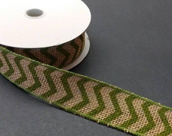 """FREE SHIPPING- 1.5"""" Wired Olive Green and Cream Chevron Ribbon - 5 Yards"""