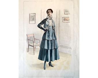 1916 ANTIQUE FRENCH FASHION lithograph - original antique print - fashion illustration design fashion designer - green summer dress