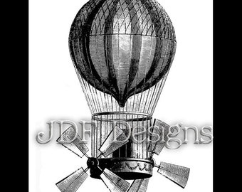Instant Digital Download, Victorian Era Graphic, Hot Air Balloon with Propellers, Steampunk, Airship Pirate,  Zeppelin