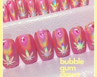Holographic Pink Press on Nails