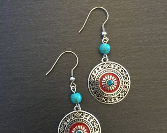 Mexican Art Inspired Silver Disc Earrings, Turquoise Earrings, Turquoise Jewellery, Boho, Turquoise, Bohemian, Ethnic, Gypsy, Hypoallergenic